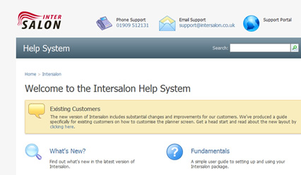 intersalon help system