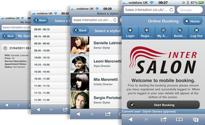 salon mobile booking step process