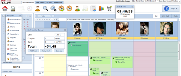 Salon Software Home Screen